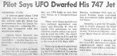 Pilot says UFO Dwarfed His 747 Jet – San Francisco Chronicle 1-1-1987