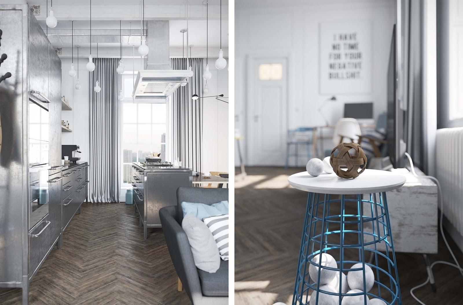 Appartamento scandinavo industriale e poetico by denis for Appartamento design industriale