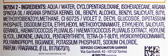 Garnier - Skin Active. Acqua Micellare Bifase.  L'Inci.