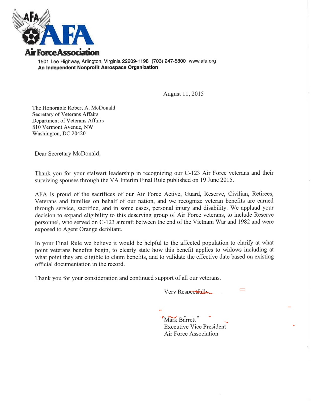 air force association seeks va support for c 123 veterans agent orange claims va appeal letter sample