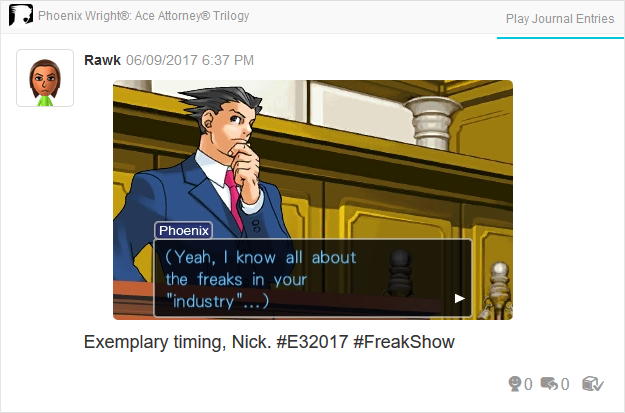 Freaks Industry E3 Phoenix Wright Ace Attorney Trilogy 3DS Miiverse Capcom Nintendo
