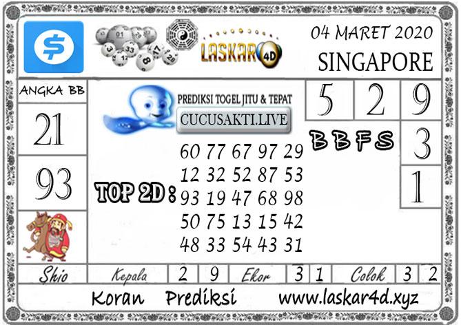 Prediksi Togel SINGAPORE LASKAR4D 04 MARET 2020