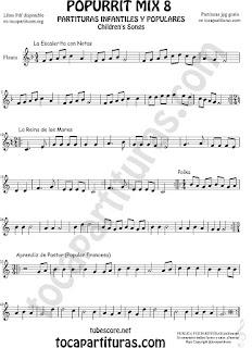 Mix 8 Partitura de Flauta Travesera La Escaleritas con Notas, La Reina de los Mares, Polka Popurrí 8 Sheet Music for Flute Music Score
