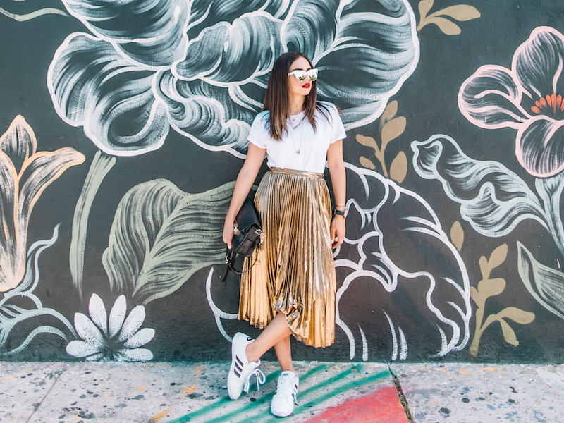 metallic skirt, white tee, hanes, adidas, superstars, proenza, ps11, wynwood walls,