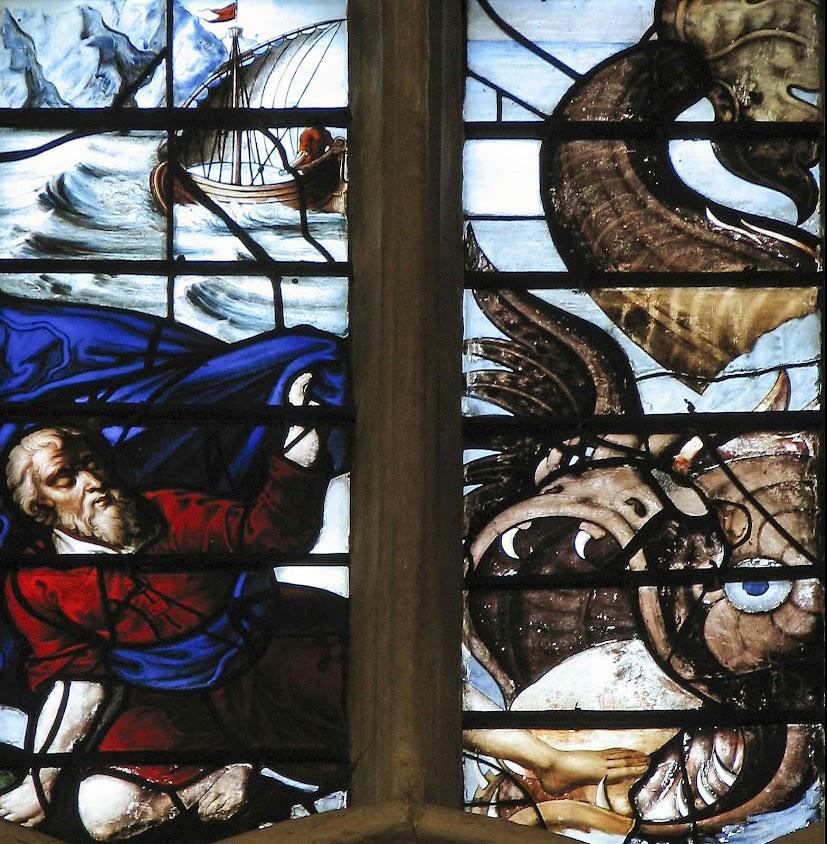 O profeta Jonas engolido pela baleia, vitral da capela do Wadham College, Oxford.