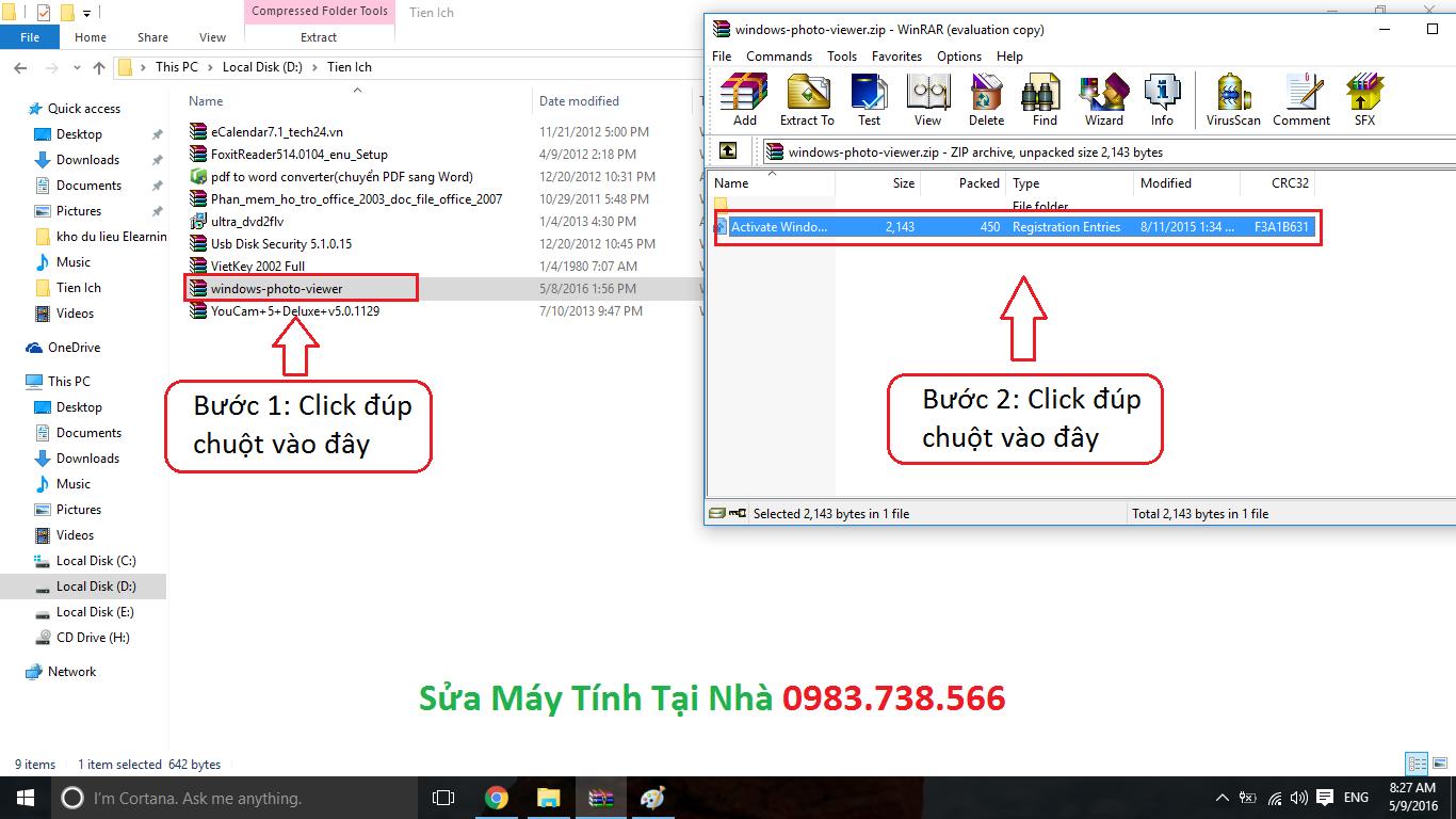 Thêm Windows Photo Viewer vào win 10 - H01
