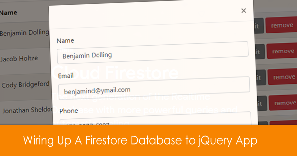 Connecting A Firestore Database using jQuery