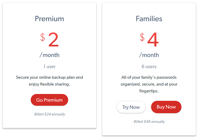 LastPass premium user Pricing