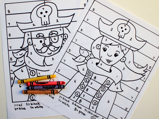 free boy and girl color by number printable sheets for preschoolers