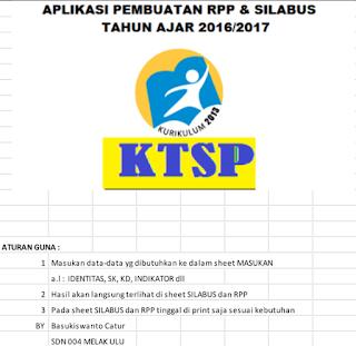 Aplikasi Pembuatan RPP Dan Silabus SD KTSP Kurikulum 2013 Terbaru