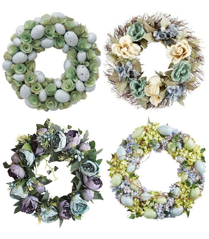Pastel Blue and Green Spring Wreath