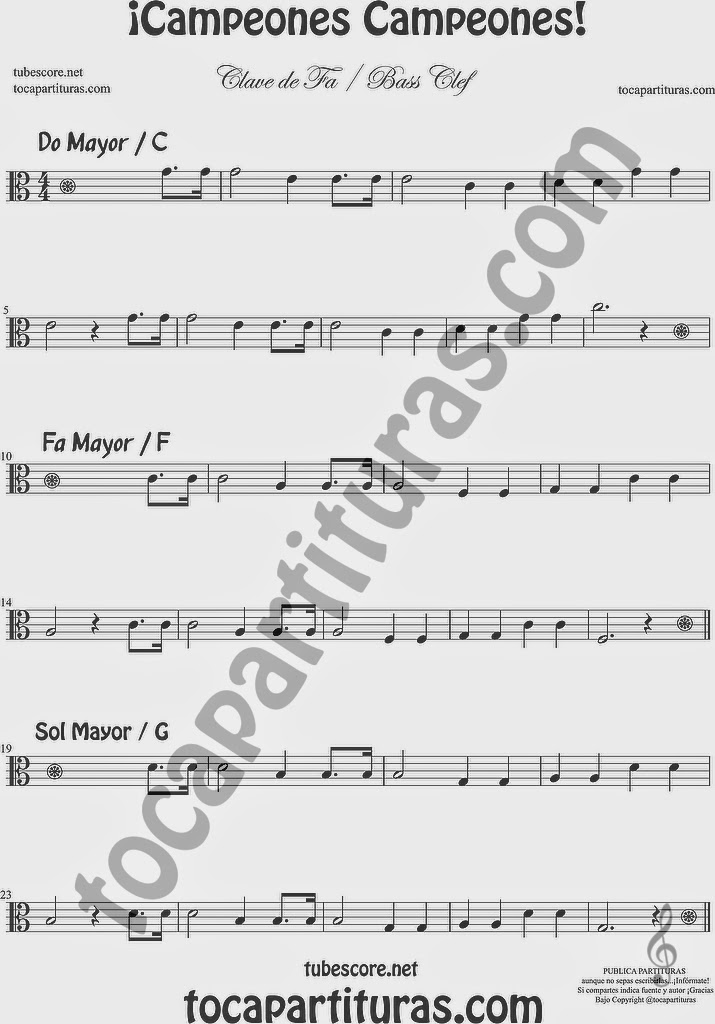 ¡Campeones campeones Partitura de Clave de Fa para Trombón Tuba Bombardino Chelo Fagot... Bass Clef Sheet Music for trombone tube euphonium cello bassoon...