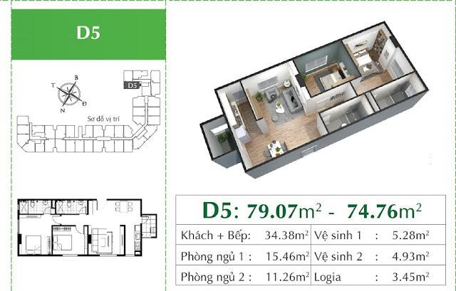 Thiết kế căn D5 Eco City Việt Hưng