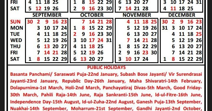 odisha secretariat news state government calendar 2018