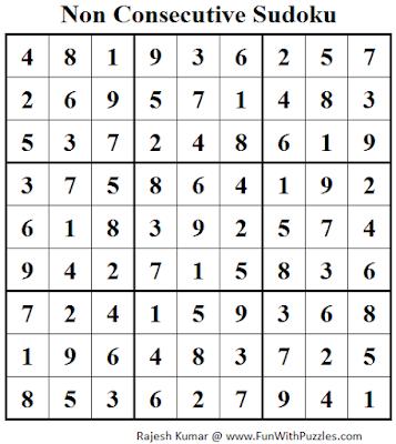 Non Consecutive Sudoku (Fun With Sudoku #60) Solution