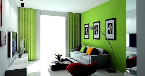 contoh desain ruang tamu dengan warna hijau omundopelaboca