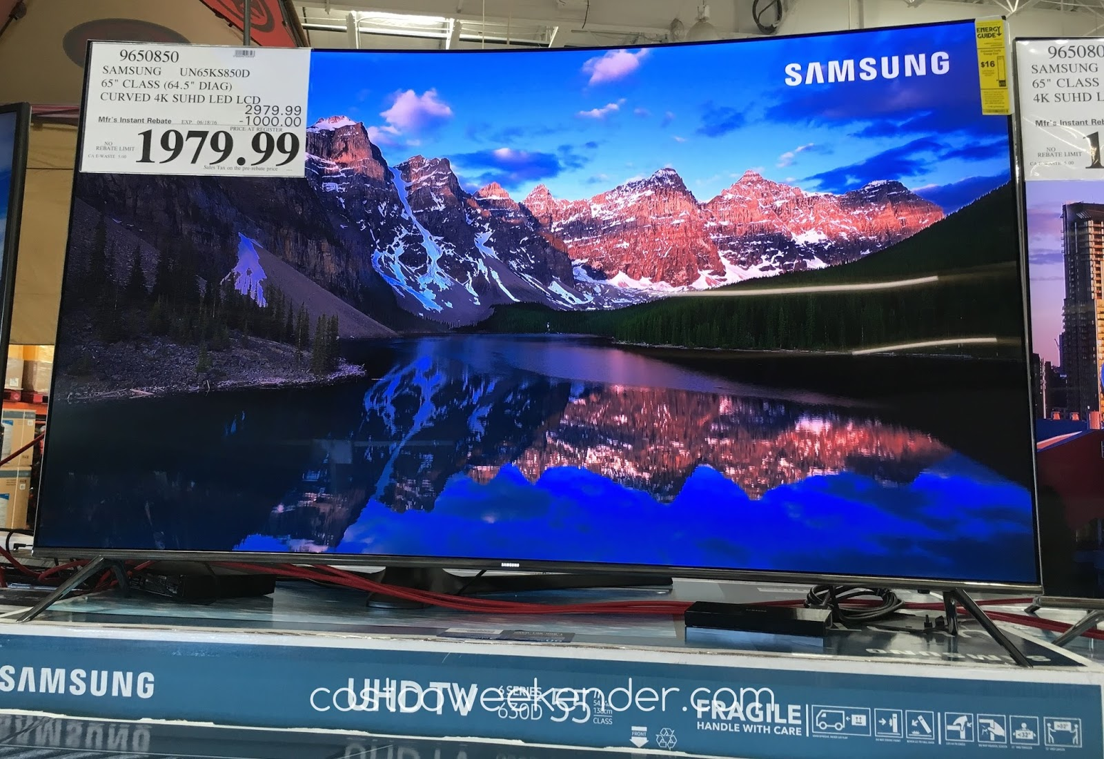 samsung un65ks850d 65 inch curved suhd led lcd tv costco weekender. Black Bedroom Furniture Sets. Home Design Ideas