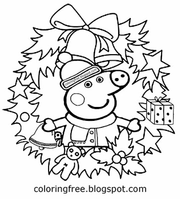 Cute winter preschool coloring Christmas holly reef drawing Peppa pig craft activities to print out