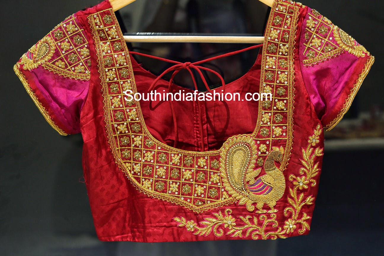 Peacock Design Maggam Work Blouse South India Fashion