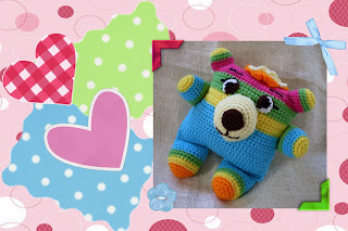crocheted amigurumi pattern with neon colors, huge eyes and lovable personaltiy