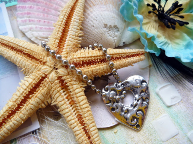 Beach Embellishment Cluster with Shells Flowers Starfish and Metal Heart Charm