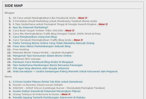 Daftar isi otomatis bloger