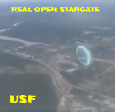 Stargate dimensional portal filmed from the window of a plane.