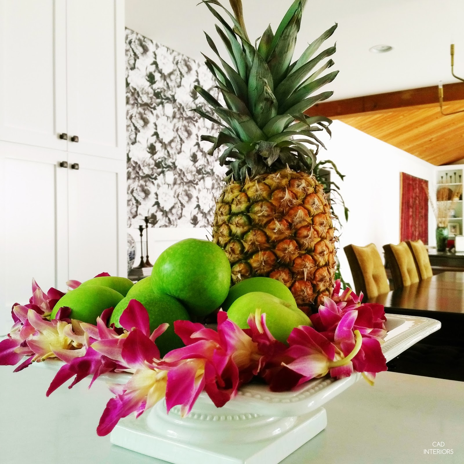 real pineapple apple orchid lei fresh fruit tray edible decoration