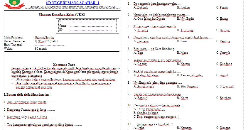 Pelajaran Bahasa Sunda Kelas 2 Sd Semester 1 Cara Mengajarku
