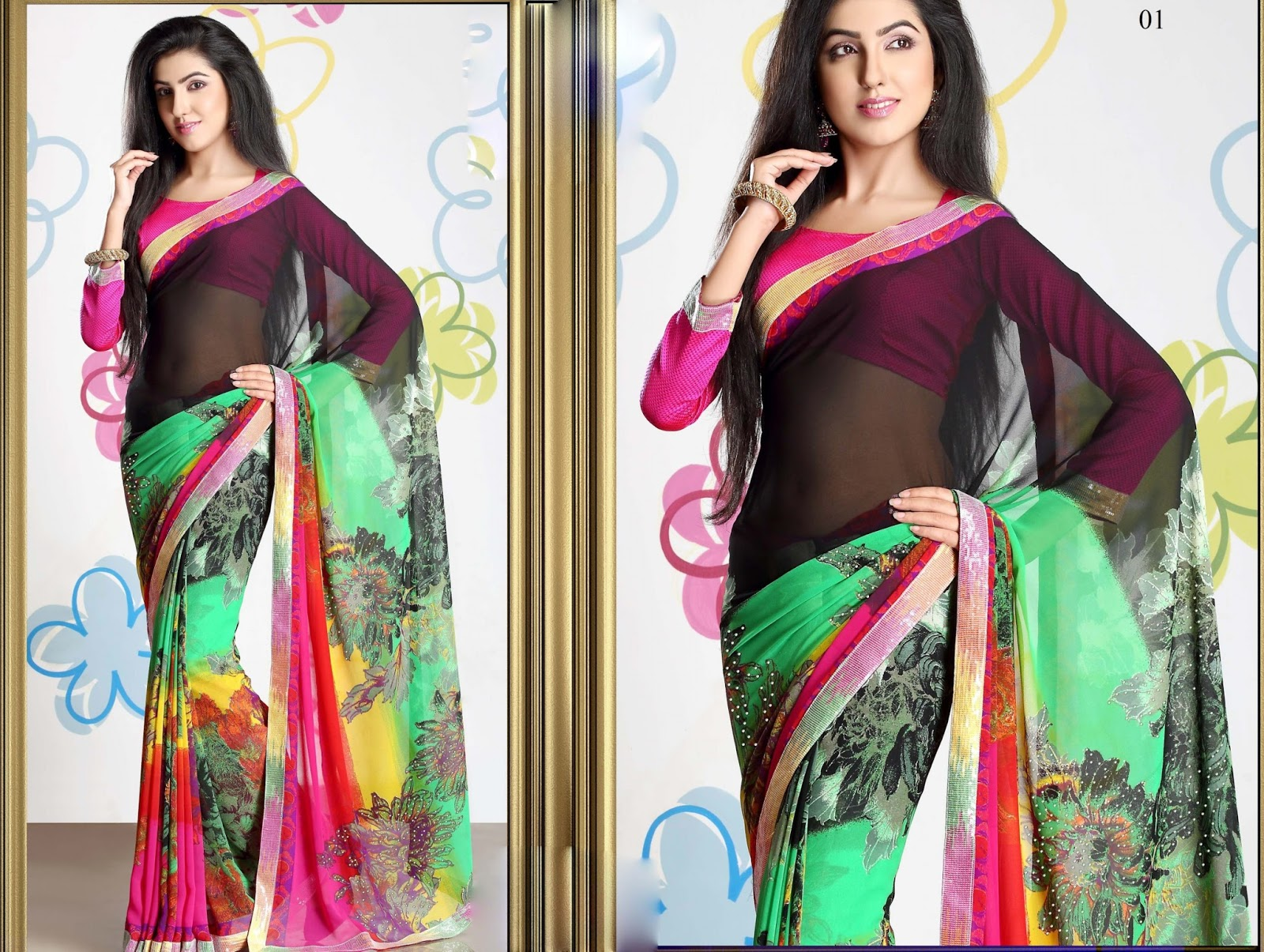 Anjali Vol 1-Viscos Bember With Lace & Stone Work With Art Silk Blouse Saree