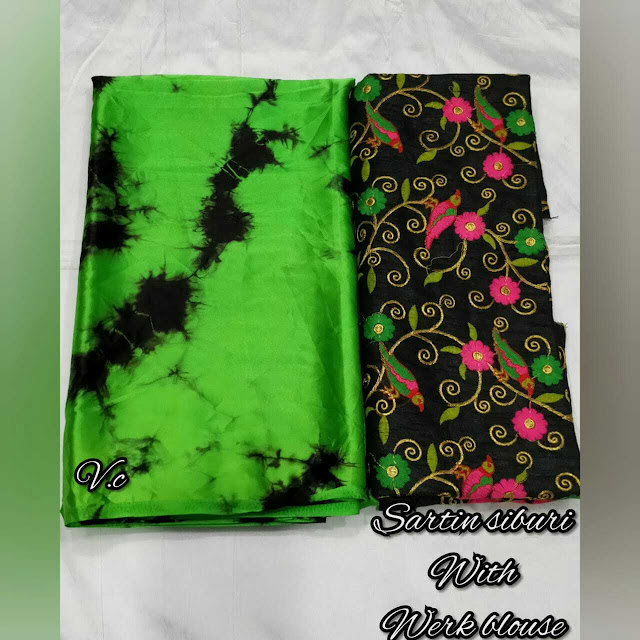 Satin SHIBORI Saree With Embroidery Blouse Piece