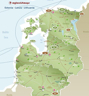 tourist travel map Estonia Latvia Lithuania
