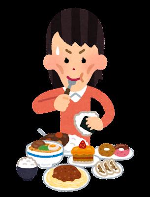 太ろうとして沢山食べる人のイラスト(女性)