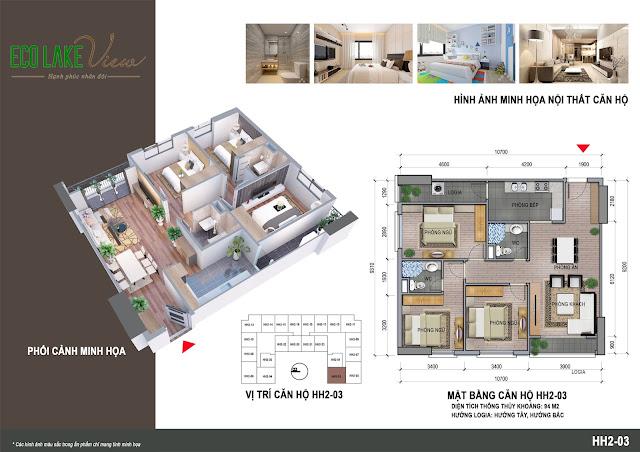 Thiết kế căn 03 tòa HH2 ECO LAKE VIEW