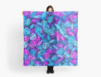 Шарф-платок с неоновыми тропическими листьями
