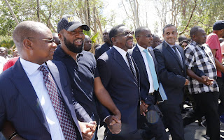 Mombasa Governor Hassan Ali Joho with other CORD members after he recorded a statement. PHOTO | Courtesy