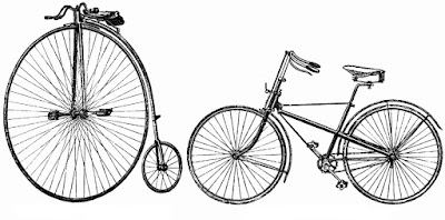 A high wheel bicycle and a saftey bicycle late 1800s