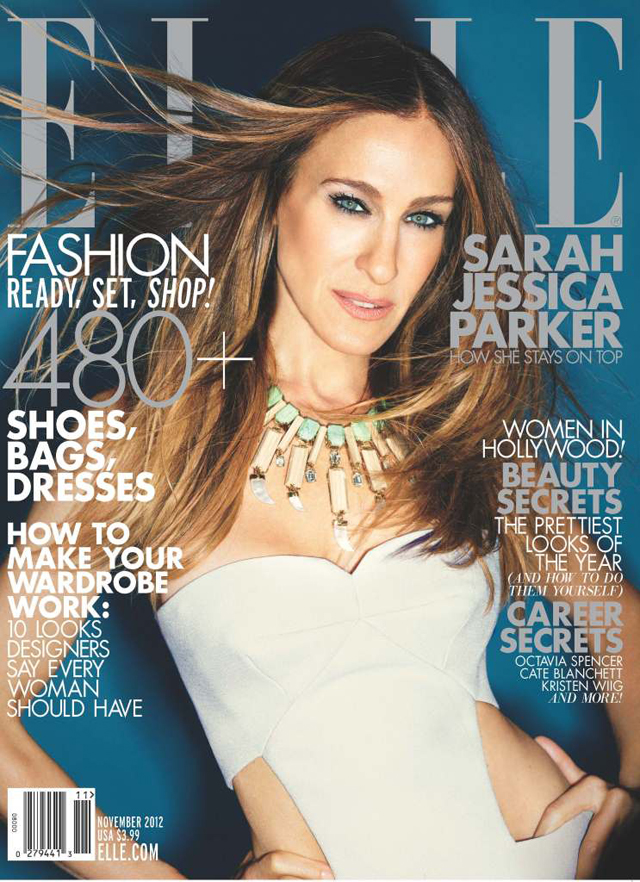 Sarah Jessica Parker covers Elle November 2012 in Calvin Klein