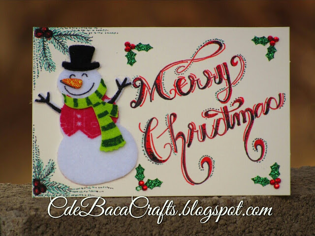 Snowman Christmas card by CdeBaca Crafts.