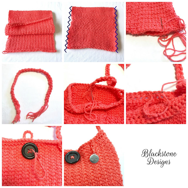 Turn a crochet strip into a handbag crochet free crochet handbag Tunisian Crochet