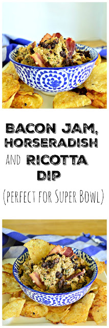 Start with some homemade bacon jam or if you find some you can buy and like use it! Add some ricotta and horseradish and a few other items and you have a bacon lover's dip! #bacon www.thisishowicook.com  #appetizers #dip