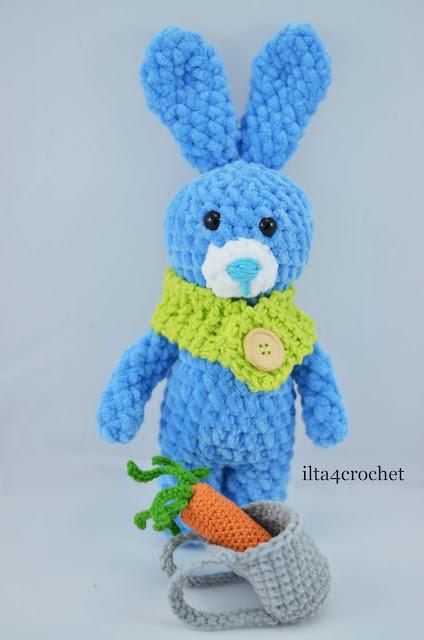 wielkanoc, królik, szydełko, handmade, marchewka, crochet bunny