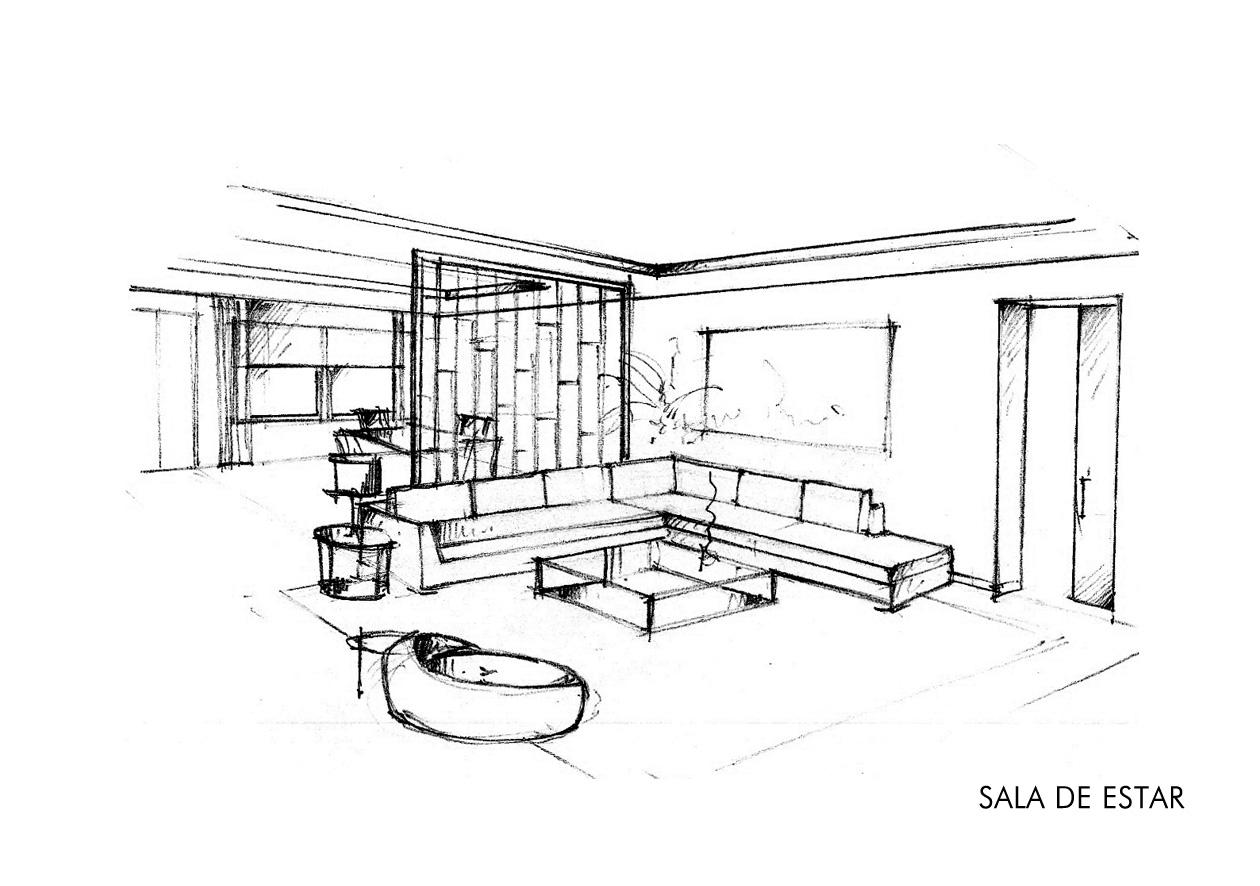Apuntes revista digital de arquitectura bocetos a mano for Sala de estar dibujo