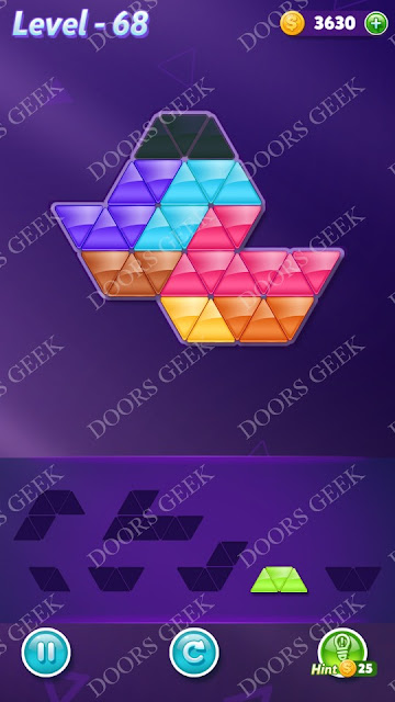 Block! Triangle Puzzle Advanced Level 68 Solution, Cheats, Walkthrough for Android, iPhone, iPad and iPod