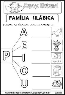 Família silábica alfabetização letra P