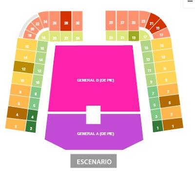 Zonas Foro Sol Naranja Verde osa sentado y de pie mas cerca del escenario backstage