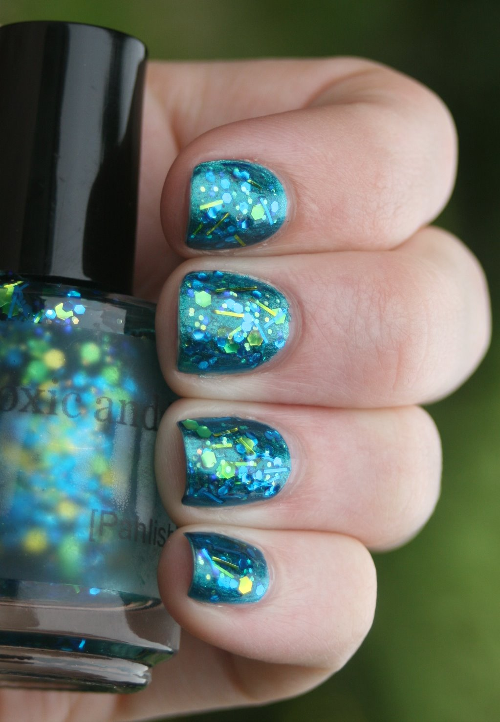 Pahlish Toxic & Timeless over China Glaze Deviantly Daring swatch