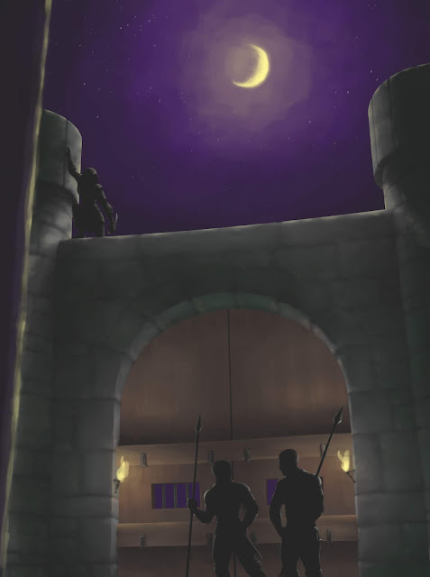Two guards in front of a castle door. Overhead, a figure silhouetted by the moon creeps on a parapet.