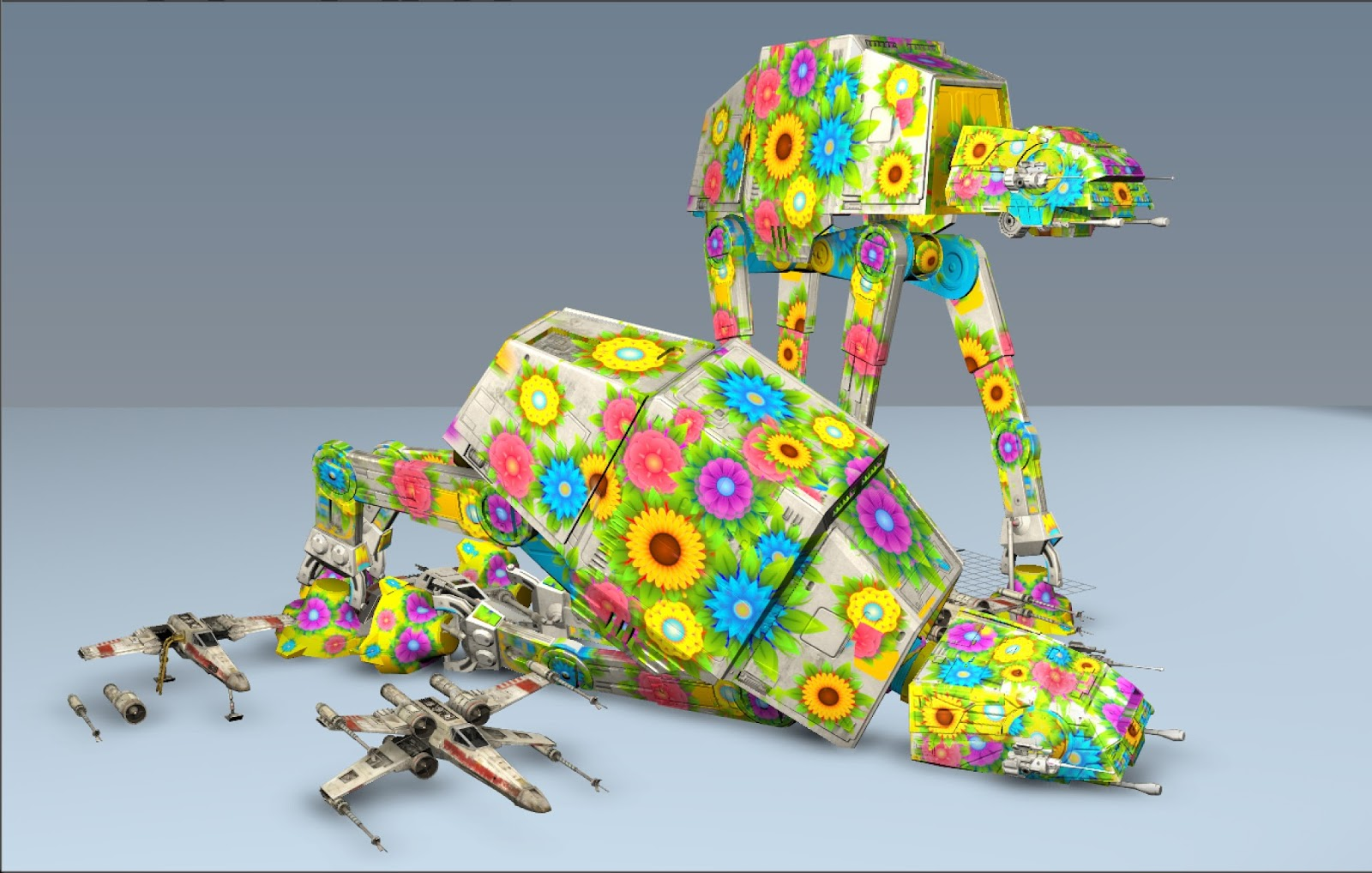 Flowery 3D AT-ATs grazing