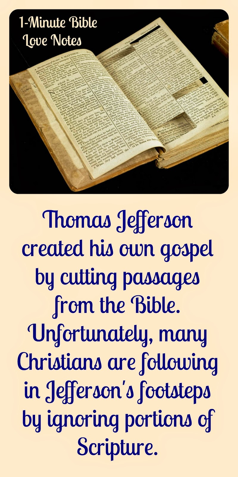 Jefferson's Bible, Diesm, cutting from Bible